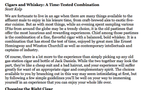 A how-to article on enjoying  cigars and whiskey like a high roller.